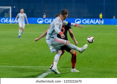 ZAGREB, CROATIA - NOVEMBER 15, 2018: UEFA Nations League football match Croatia vs. Spain. In action Ante Rebic (18) and Sergio Ramos (15)