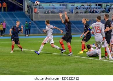 ZAGREB, CROATIA - NOVEMBER 15, 2018: UEFA Nations League football match Croatia vs. Spain. In action Tin Jedvaj (16)