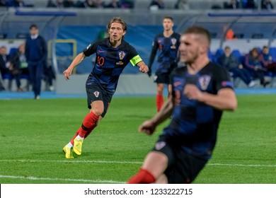 ZAGREB, CROATIA - NOVEMBER 15, 2018: UEFA Nations League football match Croatia vs. Spain. In action Luka Modric (10)