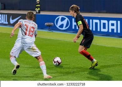 ZAGREB, CROATIA - NOVEMBER 15, 2018: UEFA Nations League football match Croatia vs. Spain. In action Luka Modric (10) and Jordi Alba (18)
