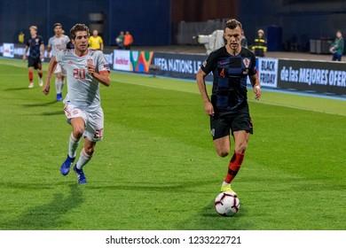 ZAGREB, CROATIA - NOVEMBER 15, 2018: UEFA Nations League football match Croatia vs. Spain. In action Ivan Perisic (4) and Sergi Roberto (20)