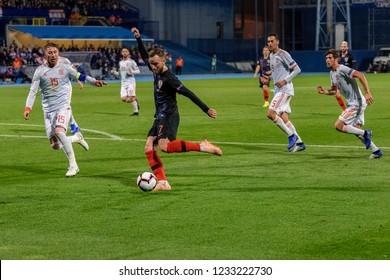 ZAGREB, CROATIA - NOVEMBER 15, 2018: UEFA Nations League football match Croatia vs. Spain. In action Ivan Rakitic (7)