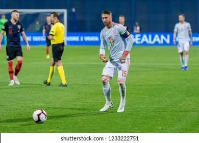 ZAGREB, CROATIA - NOVEMBER 15, 2018: UEFA Nations League football match Croatia vs. Spain. In action Sergio Ramos (15)