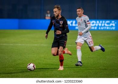 ZAGREB, CROATIA - NOVEMBER 15, 2018: UEFA Nations League football match Croatia vs. Spain. In action Ivan Rakitic (7) and Iago Aspas (17)