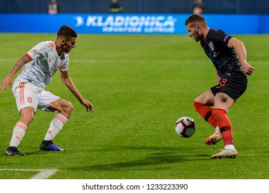 ZAGREB, CROATIA - NOVEMBER 15, 2018: UEFA Nations League football match Croatia vs. Spain. In action Ante Rebic (18) and Dani Ceballos (8)