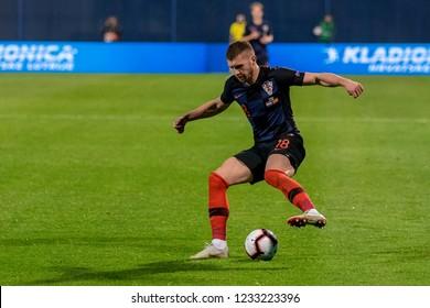 ZAGREB, CROATIA - NOVEMBER 15, 2018: UEFA Nations League football match Croatia vs. Spain. In action Ante Rebic (18)