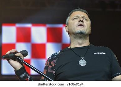 ZAGREB, CROATIA - NOVEMBER 16, 2013: Marko Perkovic Thompson, on a sold out concert in Dom Sportova concert hall.