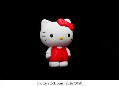 ZAGREB , CROATIA - NOVEMBER 19  , 2014 :  Hello kitty children cartoon character plastic doll  ,product shot