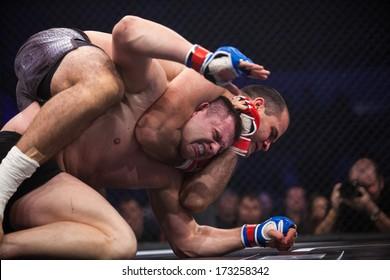 ZAGREB, CROATIA - NOVEMBER 2, 2013: Final fights at Croatian MMA legaue. Sasa MILINKOVIC (red gloves) VS Drazen GLAVAS (blue gloves).