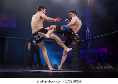 ZAGREB, CROATIA - NOVEMBER 2, 2013: Final fights at Croatian MMA legaue. Anto RADMAN (red gloves) VS Tonci PERUSKO (blue gloves).