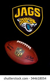 ZAGREB , CROATIA - NOVEMBER 20, 2015 :  NFL jacksonville jaguars logo printed on club equipment with official ball , product shot