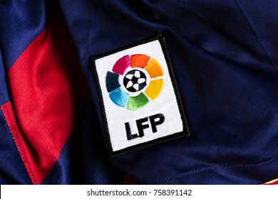 ZAGREB, CROATIA - NOVEMBER 20, 2017. - Spanish Liga de Fútbol Profesional emblem on FC Barcelona jersey.