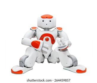 ZAGREB, CROATIA - NOVEMBER 21, 2012: Nao robot, autonomous programmable humanoid robot developed by Aldebaran Robotics. They are used for research and education in academic institutions worldwide.