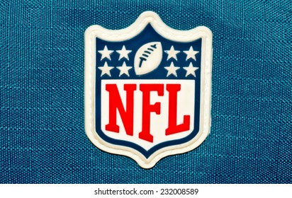ZAGREB , CROATIA - NOVEMBER 21 , 2014 :  NFL logo printed on textile equipment ,product shot