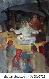 ZAGREB, CROATIA - NOVEMBER 21: Birth of Jesus, altarpiece in parish church of Saint Mark in Zagreb, Croatia on November 21, 2014
