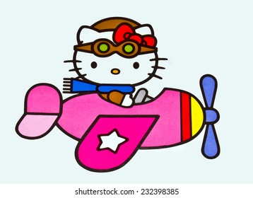 ZAGREB , CROATIA - NOVEMBER 22 , 2014 :  Hello kitty children cartoon character printed on box ,product shot