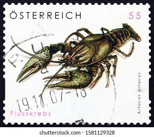 ZAGREB, CROATIA - NOVEMBER 22, 2019: a stamp printed in Austria shows noble crayfish (astacus astacus), freshwater crayfish, circa 2007