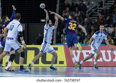 ZAGREB, CROATIA - NOVEMBER 23, 2017: EHF Velux Champions League PPD Zagreb vs. FC Barcelona Lassa. Yanis LENNE (32) shoots at the goal
