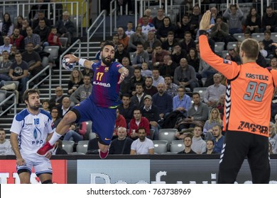 ZAGREB, CROATIA - NOVEMBER 23, 2017: EHF Velux Champions League PPD Zagreb vs. FC Barcelona Lassa. Valero RIVERA FOLCH (17) shoots at the goal