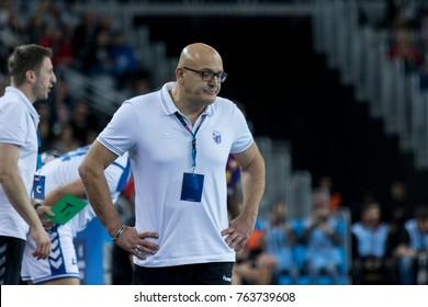 ZAGREB, CROATIA - NOVEMBER 23, 2017: EHF Velux Champions League PPD Zagreb vs. FC Barcelona Lassa. Zlatan SARACEVIC coach of PPD Zagreb