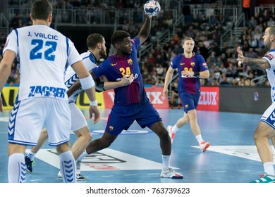 ZAGREB, CROATIA - NOVEMBER 23, 2017: EHF Velux Champions League PPD Zagreb vs. FC Barcelona Lassa. Dika MEM (24) with the ball