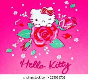 ZAGREB , CROATIA - NOVEMBER 24 , 2014 :  Hello kitty children cartoon character printed on card ,product shot