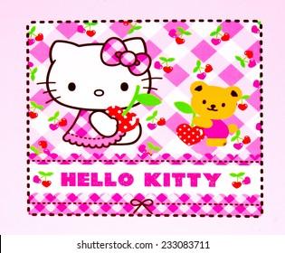 ZAGREB , CROATIA - NOVEMBER 24 , 2014 :  Hello kitty children cartoon character printed on box ,product shot