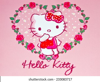 ZAGREB , CROATIA - NOVEMBER 24 , 2014 :  Hello kitty children cartoon character printed on card ,product shot