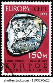 ZAGREB, CROATIA - NOVEMBER 24, 2019: a stamp printed in Cyprus shows rape of Europa, silver stater of Marion, second half of 5th century B.C., archaeological finds on Cyprus, circa 1974