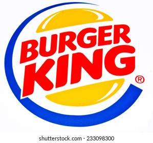 ZAGREB , CROATIA - NOVEMBER 25 , 2014 : fast food chain Burger King logo printed on food box ,product shot