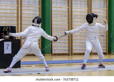 ZAGREB, CROATIA - NOVEMBER 25, 2017: Swordplay tournament The Trophy of Mladost Zagreb. Fencers in action