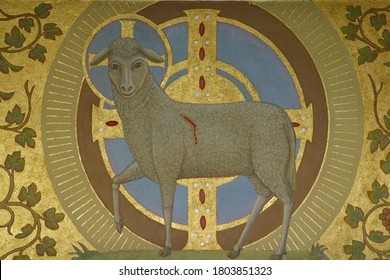 ZAGREB, CROATIA - NOVEMBER 26, 2014: Lamb of God, Agnus Dei with a cross, fresco in the church of Corpus Domini in Zagreb, Croatia