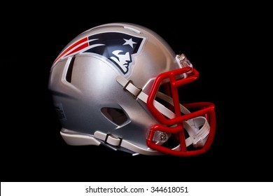 ZAGREB , CROATIA - NOVEMBER 28, 2015 :  NFL club New England Patriots replica helmet on black background , product shot