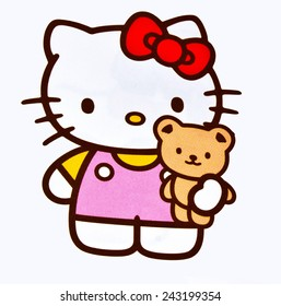 ZAGREB , CROATIA - NOVEMBER 29 , 2014 :  Hello kitty children cartoon character printed on card ,product shot