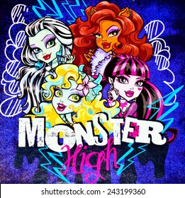ZAGREB , CROATIA - NOVEMBER 29 , 2014 :  Monster high children cartoon characters printed on box ,product shot
