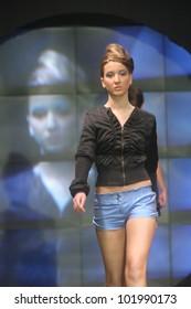 "ZAGREB, CROATIA - NOVEMBER 29: Fashion model wears clothes made by Kristina Spirk on ""ZAGREB FASHION WEEK"" show on November 29, 2006 in Zagreb, Croatia."