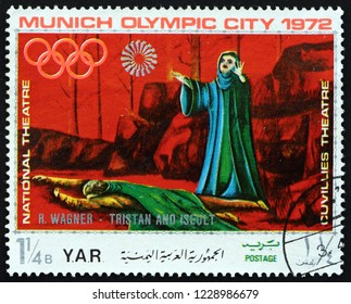 ZAGREB, CROATIA - NOVEMBER 3, 2018: a stamp printed in Yemen Arab Republic shows Scene from Tristan and Isolde, an Opera by Richard Wagner, German Composer, Olympic City Munich, circa 1971