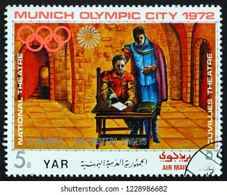ZAGREB, CROATIA - NOVEMBER 3, 2018: a stamp printed in Yemen Arab Republic shows Scene from The Master Singers, an Opera by Richard Wagner, German Composer, Olympic City Munich, circa 1971