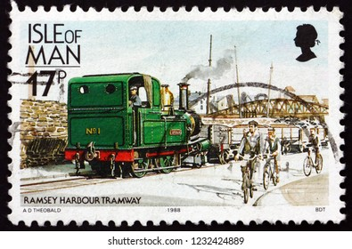 ZAGREB, CROATIA - NOVEMBER 3, 2018: a stamp printed in Isle of Man shows Locomotive No1., Ramsey harbor tramway, circa 1988