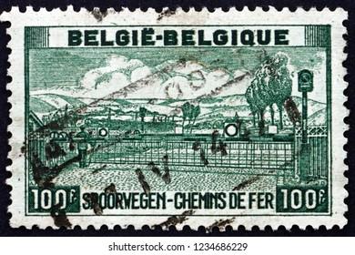 ZAGREB, CROATIA - NOVEMBER 3, 2018: a stamp printed in Belgium shows Railway Crossing, circa 1947