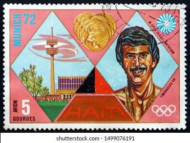 ZAGREB, CROATIA - NOVEMBER 3, 2018: a stamp printed in Haiti shows Mark Spitz, Gold Medal Winner, 1972 Summer Olympic Games, Munich, circa 1972
