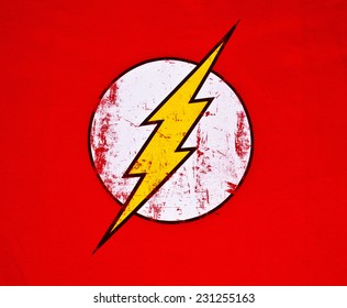 ZAGREB , CROATIA - NOVEMBER 6, 2014 :  Logo of superhero The Flash by DC comics printed on textile  ,product shot