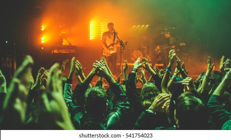 Zagreb, Croatia - November 8th: British indie band White Lies performing at Tvornica Kulture on ovember 8th, 2016 in Zagreb, Croatia