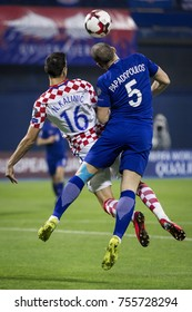 ZAGREB, CROATIA - NOVEMBER 9, 2017: European qualifier for 2018 FIFA World Cup Russia. Round 2, 1st leg - Croatia VS Greece. Nikola KALINIC (16) and Kyriakos PAPADOPOULOS (5)