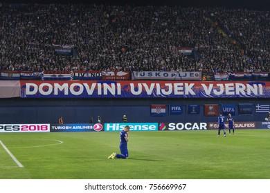 ZAGREB, CROATIA - NOVEMBER 9, 2017: European qualifier for 2018 FIFA World Cup Russia. Round 2, 1st leg - Croatia VS Greece. Kyriakos PAPADOPOULOS (5)