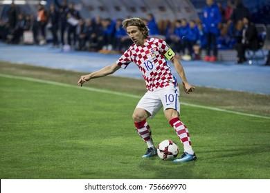 ZAGREB, CROATIA - NOVEMBER 9, 2017: European qualifier for 2018 FIFA World Cup Russia. Round 2, 1st leg - Croatia VS Greece. Luka MODRIC (10)