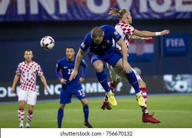 ZAGREB, CROATIA - NOVEMBER 9, 2017: European qualifier for 2018 FIFA World Cup Russia. Round 2, 1st leg - Croatia VS Greece. Kyriakos PAPADOPOULOS (5) and Domagoj VIDA (21)