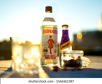 ZAGREB, CROATIA - OCT, 8: Old british Beefeater dry gin bottle in the old bottle
