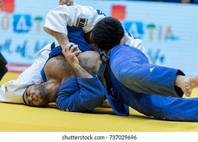 ZAGREB, CROATIA - OCTOBER 01, 2017:  IJF Judo Grand Prix Zagreb 2017. The two judokas fighters fighting