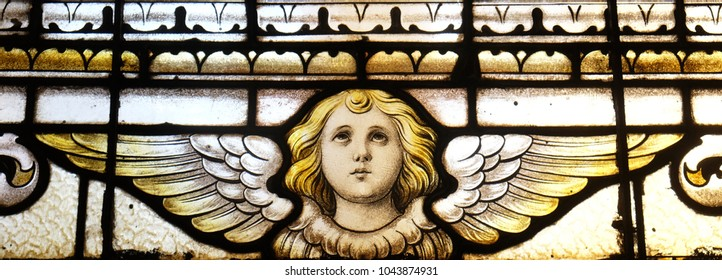 ZAGREB, CROATIA - OCTOBER 02: Angel, stained glass window in the church of Saint Martin in Zagreb, Croatia, on October 02, 2017.